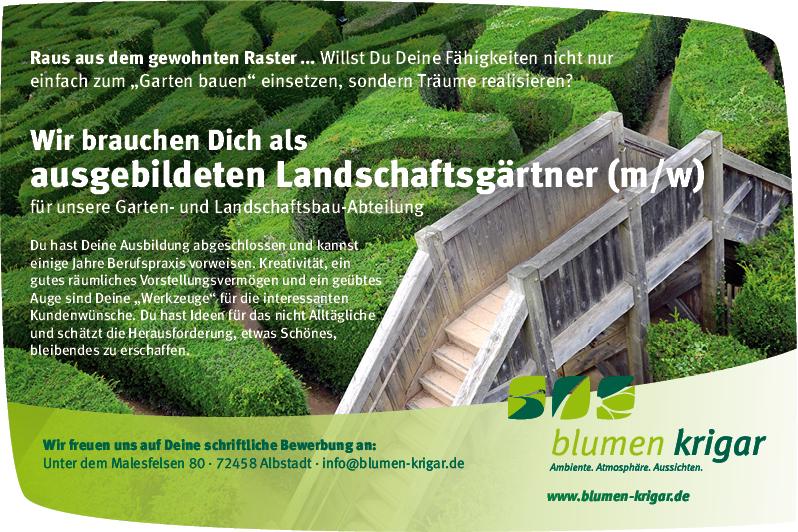 Landschaftsgärtner  Beruf und Ausbildung - Blumen Krigar